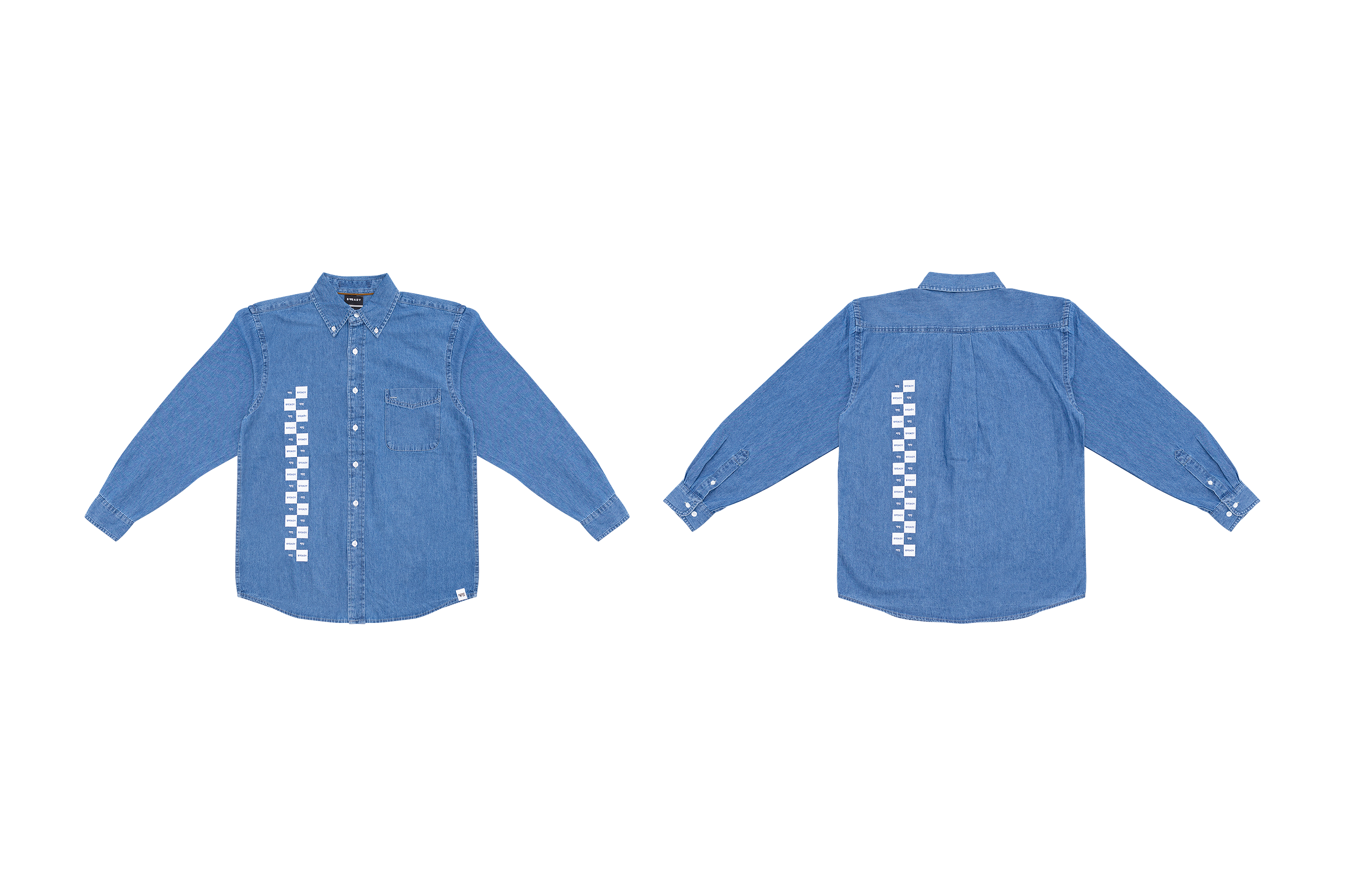 CHECK LOGO DENIM SHIRT
